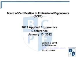 Professional Certification in Ergonomics/Human Factors