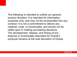 PPT, 550Kb - UK Oracle User Group