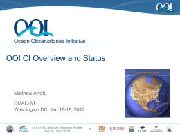OOI CI Overview and Status