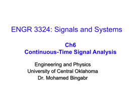 ELEC 360: Signals and Systems - UCO