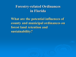 Potential Effects of County and Municipal Ordinances