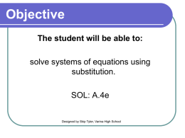 Solving Systems with Substitution