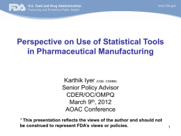 a copy of the presentation - Pharmaceutical Manufacturing