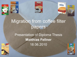 Migration from coffee filter papers