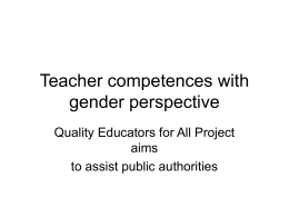 Teacher competencies with gender perspective