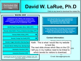 David W. LaRue, Ph.D - Gates Website