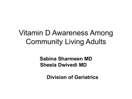 Vitamin D Awareness Among Community Living Adults