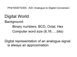 PH4705/ET4305: A/D: Analogue to Digital Conversion