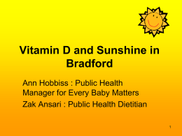 Vitamin D and Sunshine in Bradford