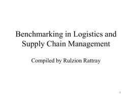 Benchmarking in Logistics and Supply Chain Management