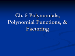 Intro to Polynomials