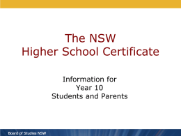 HSC Information for Year 10 Students and Parents