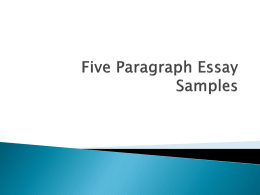Five Paragraph Essay Samples