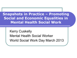 Promoting Social and Economic Equalities in Mental Health Social