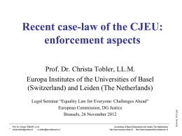 Recent case-law of the CJEU