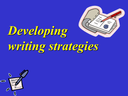 Developing writing strategies