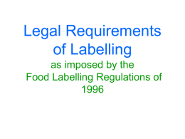 Legal Requirements of Labelling - original PowerPoint presentation