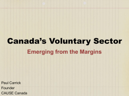 to view a slideshow on Canada`s Voluntary Sector.