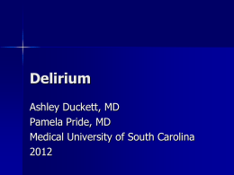 Delirium - Clinical Departments - Medical University of South Carolina