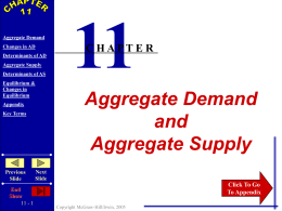 Chapter 11 Aggregate Demand & Aggregate Supply