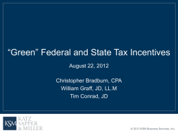 """Green"" Federal & State Tax Incentives"