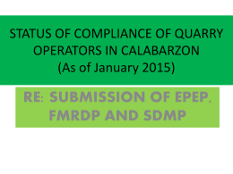 status of compliance re: epep, fmrdp and sdmp