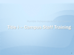 Title I Staff Training
