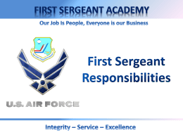 First Sergeant Responsibilities (new window)