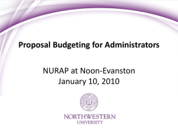NURAP Proposal Budgeting-Best Practices
