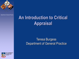 An Introduction to Critical Appraisal