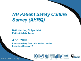 NH Patient Safety Culture Survey (AHRQ)