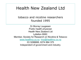Health New Zealand Ltd tobacco and nicotine researchers