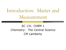 Chapter 1 Introduction Matter and Measurements
