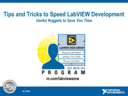 Tips and Tricks to Speed LabVIEW Development
