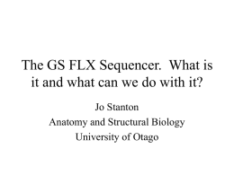 PowerPoint Presentation - The GS FLX Sequencer. What is it and