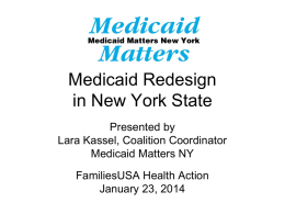 Medicaid Redesign in New York State