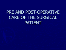 pre and post-operative care of the surgical patient