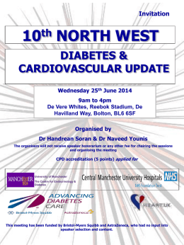 Diabetes and CV Event 25th June 2014
