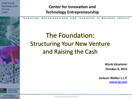 How to Legally Structure your Company and Raise the Cash