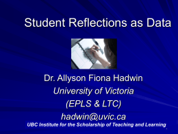 Student Reflections as Data - UBC Centre for Teaching, Learning