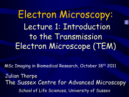 Introduction to TEM - School of Life Sciences