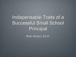 Indispensable Traits of a Successful Small School Principal