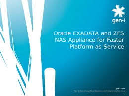 Oracle Exadata with ZFS NAS Appliance for faster platform