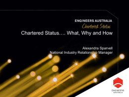 Chartered Status...What, Why and How