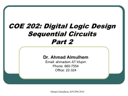 COE 202: Digital Logic Design Sequential Circuits Part 2