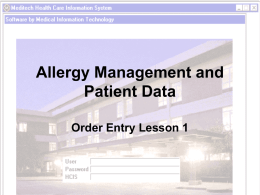 Allergy mgmt and pt data - Greater Baltimore Medical Center