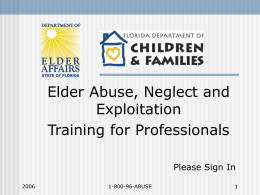 Elder Abuse, Neglect, & Exploitation Training for Professionals