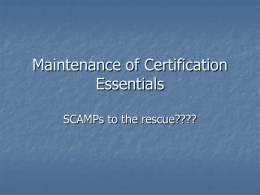 Steve Colan`s Maintenance of Certification Presentation from the