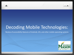 Accessing Mobile Technologies: