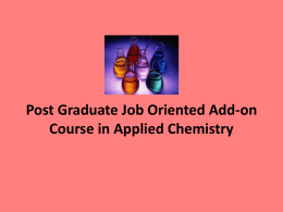 Post Graduate Job Oriented Add-on Course in Applied Chemistry